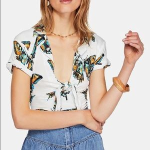 Free People 🆕 Butterfly 🦋 Print Top